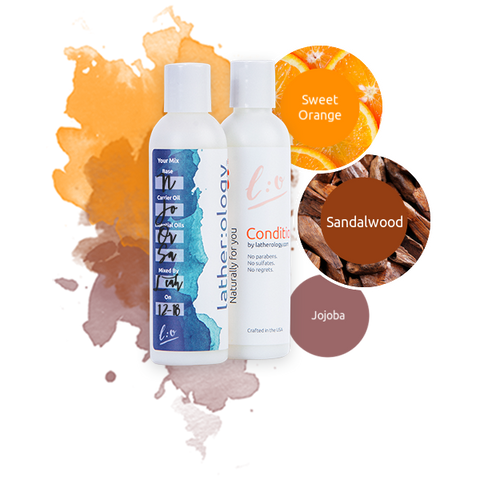 Shampoo & Conditioner for Natural Hair made with Jojoba, Sandalwood, and Sweet Orange