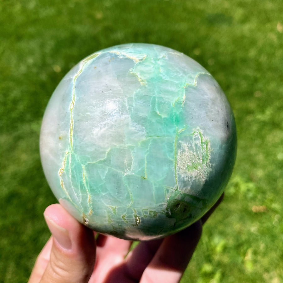 Garnereite 3 Inch Sphere with Vibrant Green Inclusions from Madagascar!