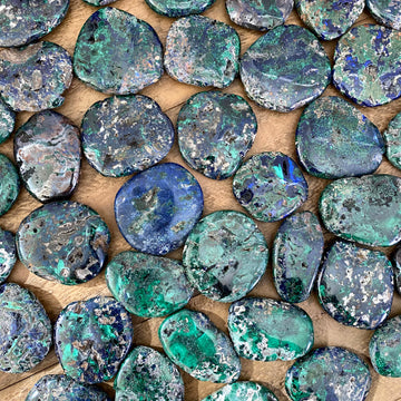 Azurite and Malachite Pocket Stones from Morocco