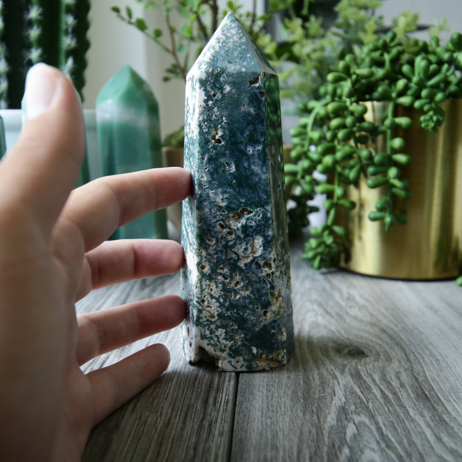 Moss Agate Tower from India