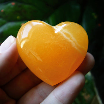 Orange Calcite Heart from Mexico