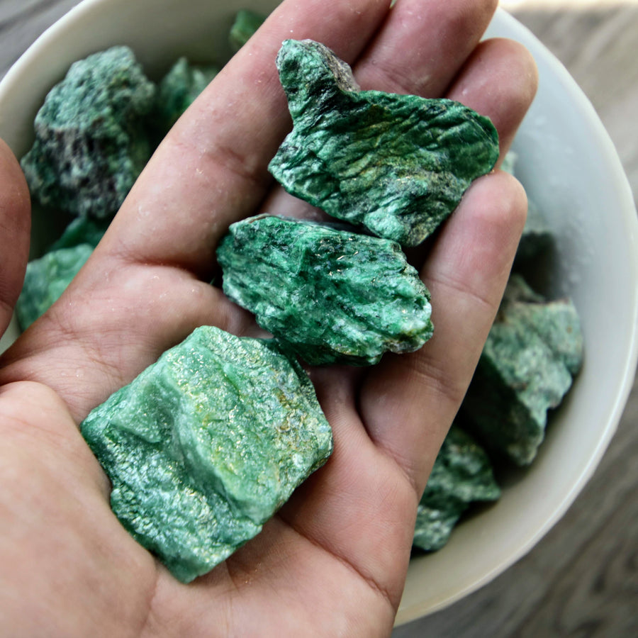 Green Fuschite Natural Chunks from India