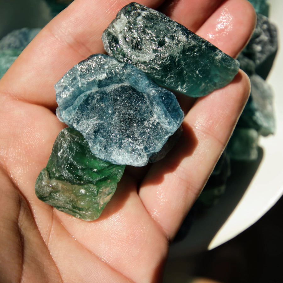 Blue and Green Fluorite Natural Chunks from China