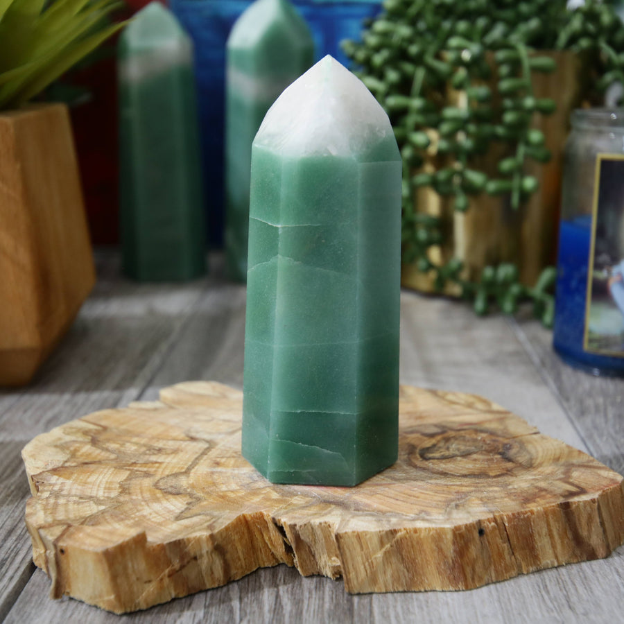 Green and White Aventurine Tower from Brazil
