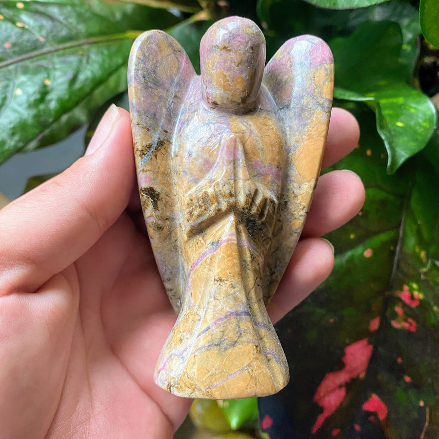 Rhodonite Angel Carving from Madagascar