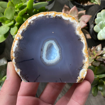 Small 3 inch self standing cut agate from Btazil