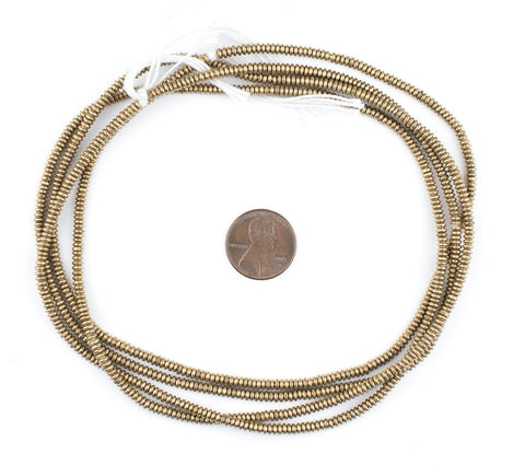 Brass Smooth Heishi Beads (3mm) - The Bead Chest