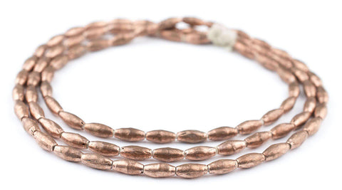 Ethiopian Copper Metal Oval Beads (7x4mm) - The Bead Chest
