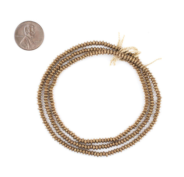 Antiqued Brass Patterned Heishi Beads (3mm)