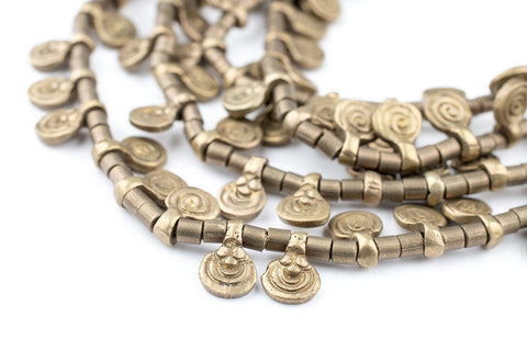 Brass Mini Baule Charm Beads (Double Strand Necklace) - The Bead Chest