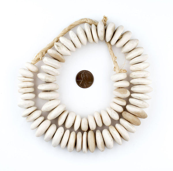 Kenya Matte White Bone Beads (Disk)