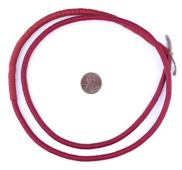 Old Red Vinyl Phono Record Beads (5mm)