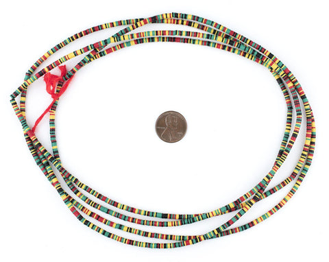Image of Rasta Medley Phono Record Vinyl Beads (3mm) - The Bead Chest