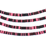 Black & Pink Phono Record Vinyl Beads (3mm)