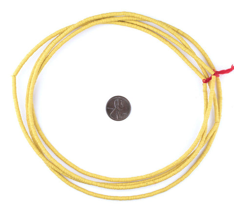 Yellow Phono Record Vinyl Beads (3mm) - The Bead Chest