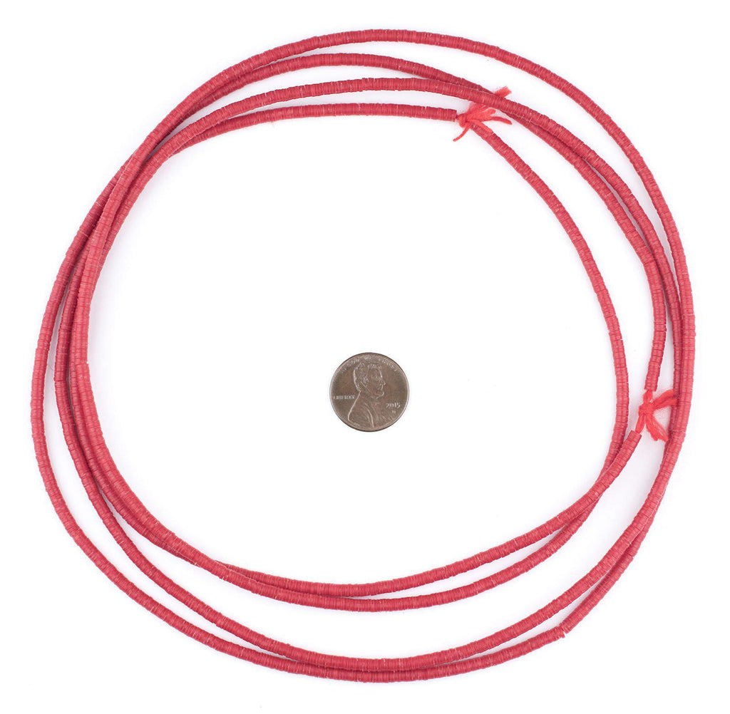 Red Phono Record Vinyl Beads (3mm) - The Bead Chest