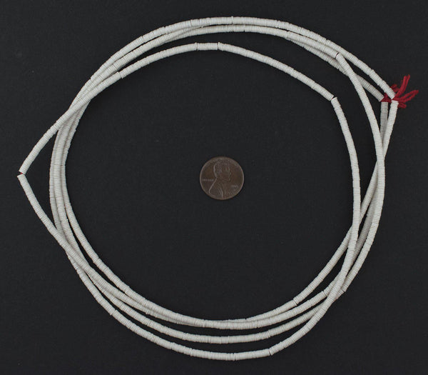 White Phono Record Vinyl Beads (3mm)