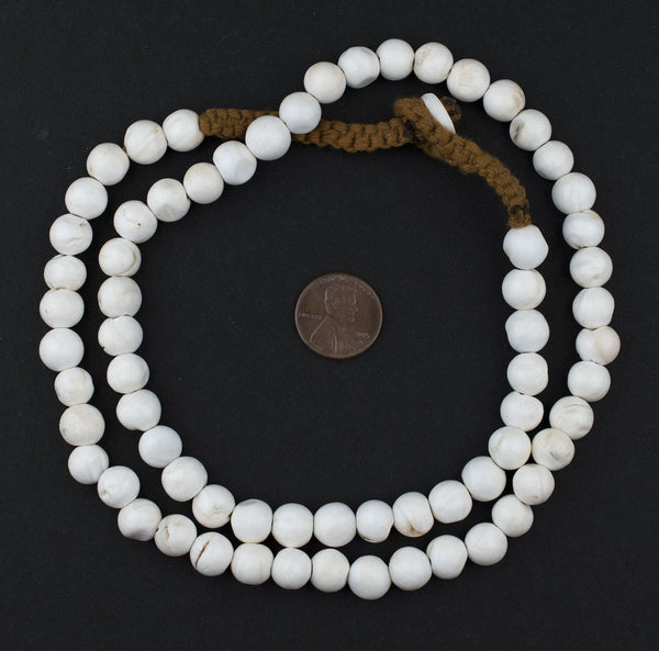 White Spherical Naga Conch Shell Beads (10mm)