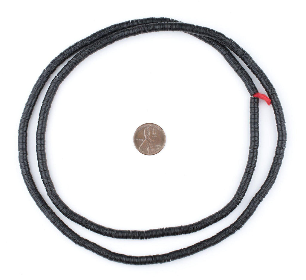 Black Vinyl Phono Record Beads (5mm) - The Bead Chest