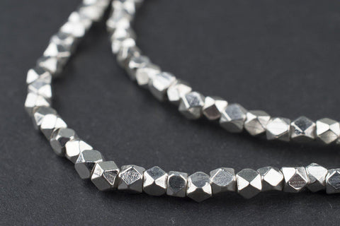 Shiny Silver Faceted Diamond Cut Beads (3mm) - The Bead Chest