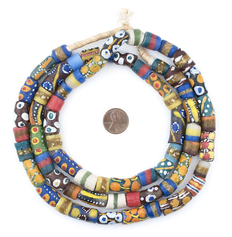 Krobo Fancy Powderglass Beads (Long Strand) - The Bead Chest