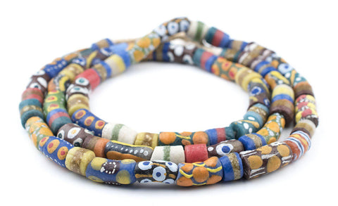 Image of Krobo Fancy Powderglass Beads (Long Strand) - The Bead Chest