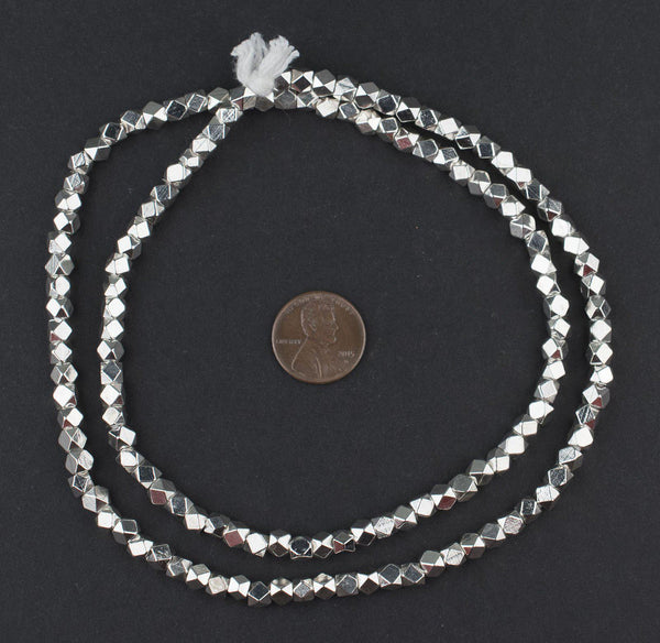 Shiny Silver Diamond Cut Beads (4mm)