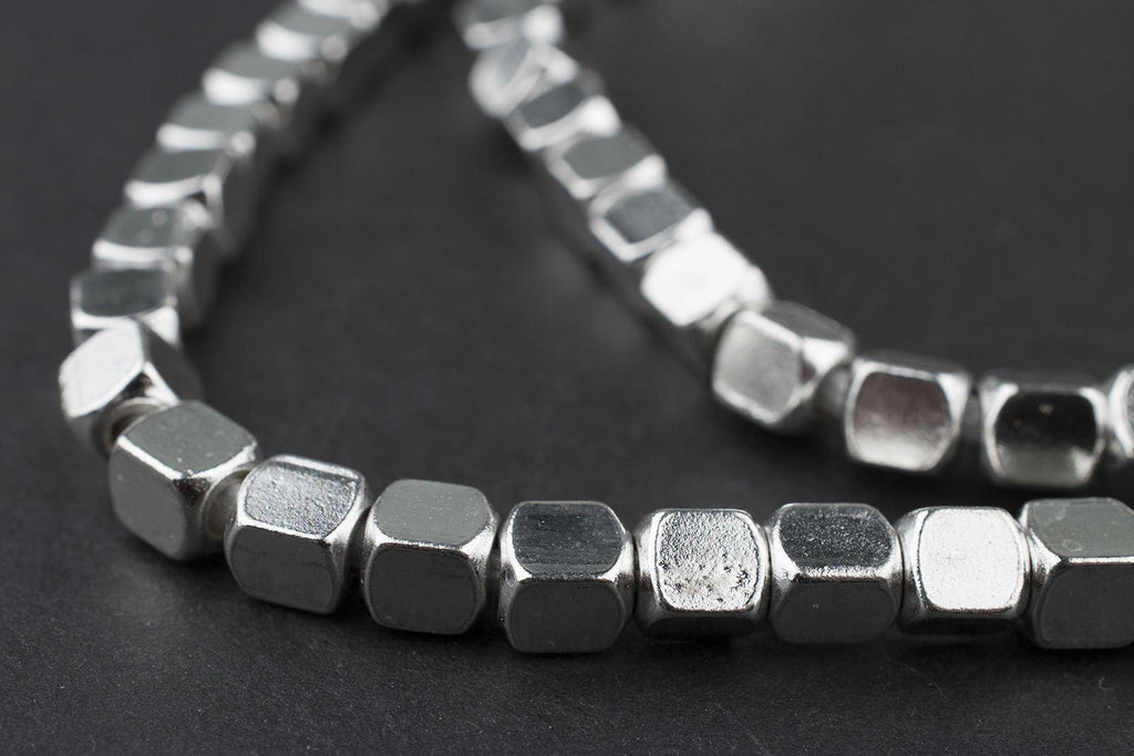 Silver Cube Beads (5mm) - The Bead Chest