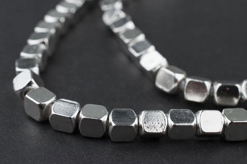 Image of Silver Cube Beads (5mm) - The Bead Chest