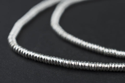 Silver Double Heishi Beads (3mm) - The Bead Chest