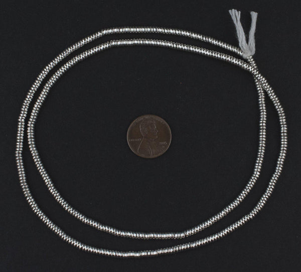 Silver Double Heishi Beads (3mm)