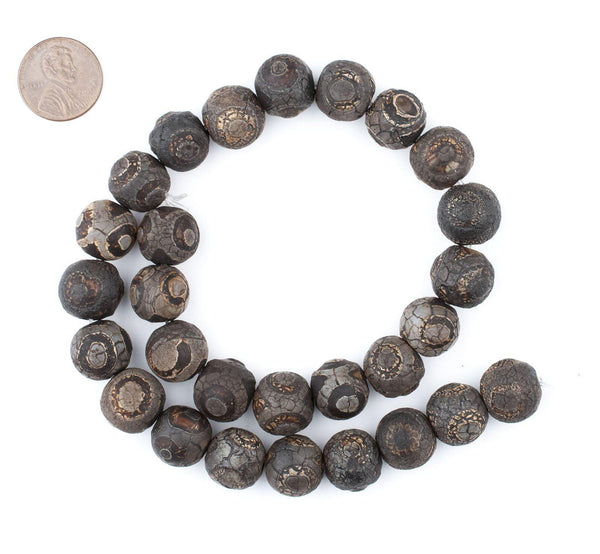 Dark Antiqued Round Tibetan Agate Beads (14mm)