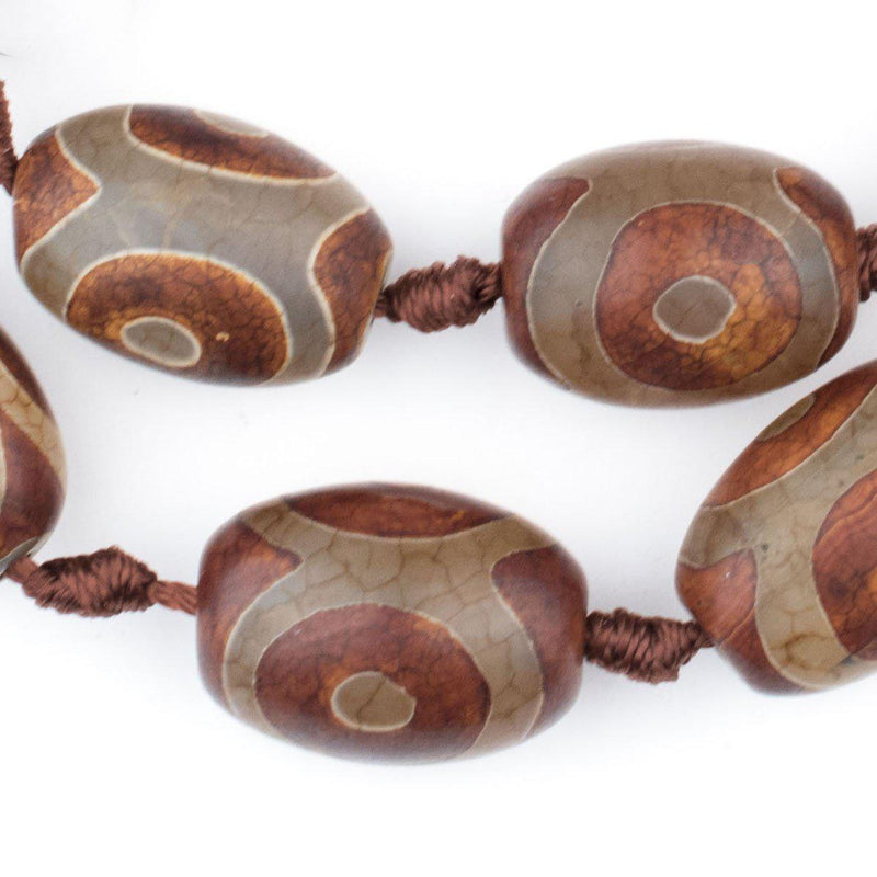 Premium Oval Tibetan Agate Beads (22x16mm) - The Bead Chest