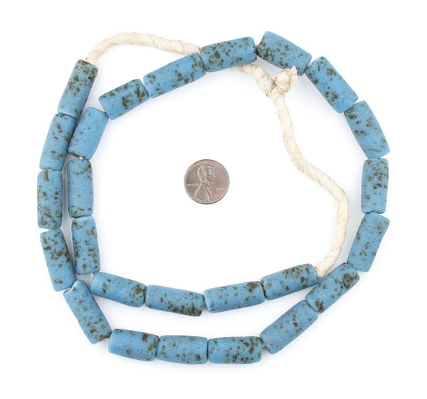 Turquoise-Style Ghana Glass Beads (25x10mm)