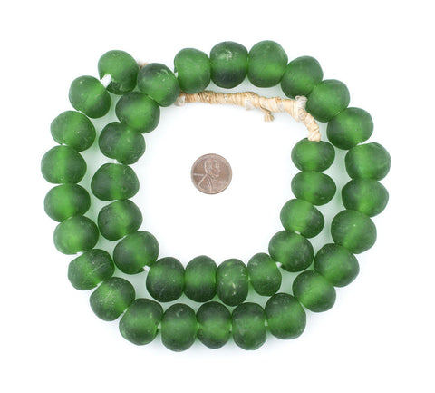 Jumbo Green Recycled Glass Beads (24mm) - The Bead Chest