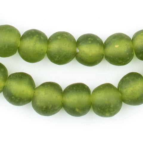 Image of Lime Green Recycled Glass Beads (14mm) - The Bead Chest