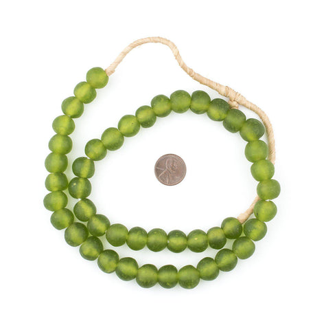 Lime Green Recycled Glass Beads (14mm) - The Bead Chest