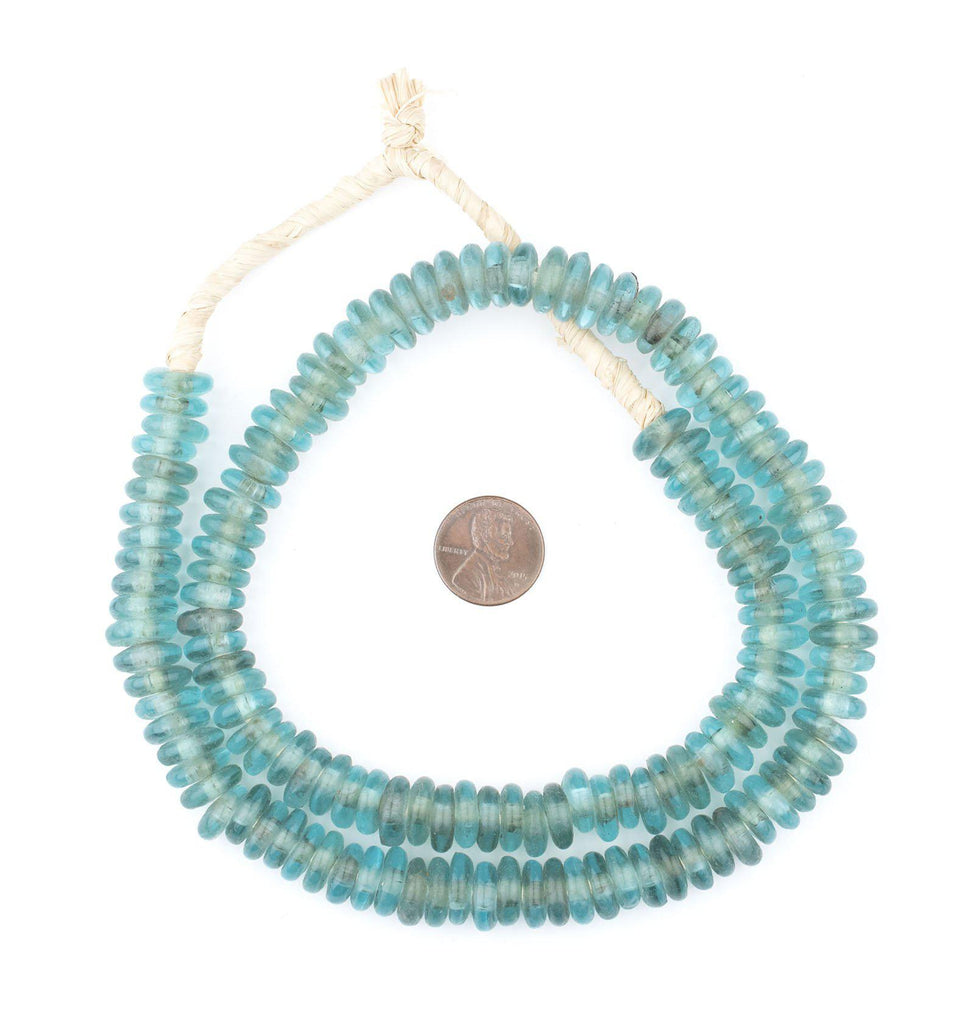 Aqua Rondelle Recycled Glass Beads - The Bead Chest