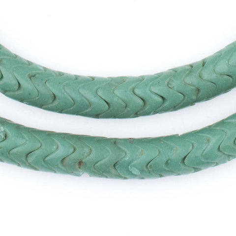 Glass Snake Beads, Sea Green Color (Large) - The Bead Chest