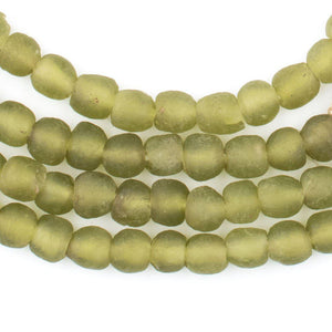 Olive Green Recycled Glass Beads (7mm) - The Bead Chest