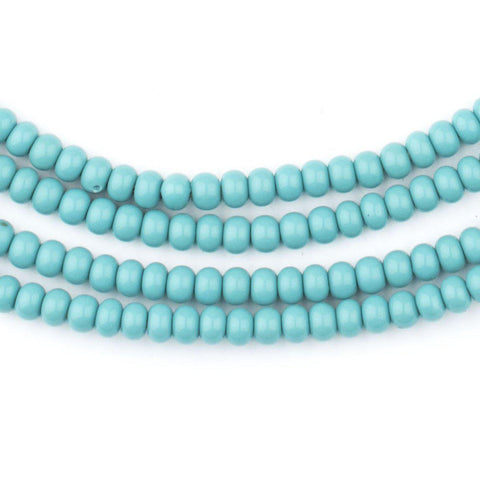 Turquoise Green Ghana Glass Beads (4mm) - The Bead Chest