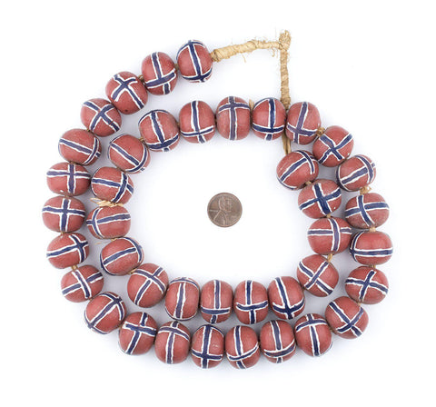 Image of Jumbo Painted Krobo Glass Beads (Blue French Cross) - The Bead Chest