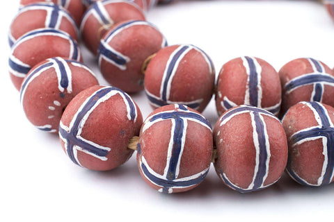 Jumbo Painted Krobo Glass Beads (Blue French Cross) - The Bead Chest