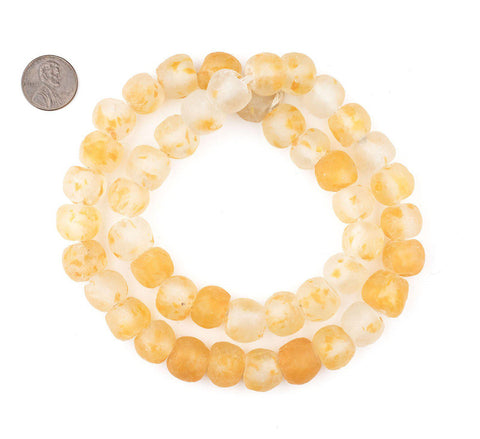 Speckled Orange Recycled Glass Beads (14mm) - The Bead Chest