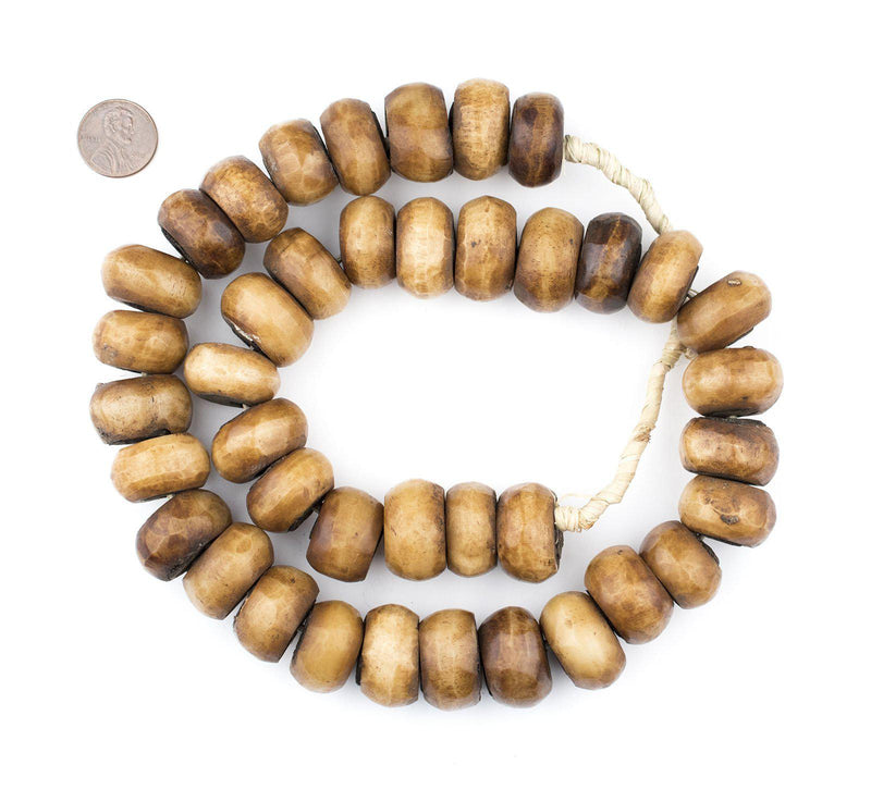 Kenya Light Brown Bone Beads (Large) - The Bead Chest
