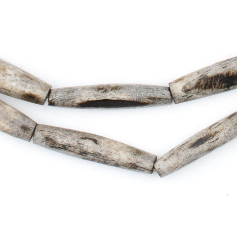 Grey Bone Beads (Elongated) - The Bead Chest
