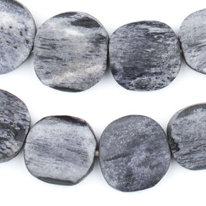 Dark Grey Bone Beads (Circular) - The Bead Chest