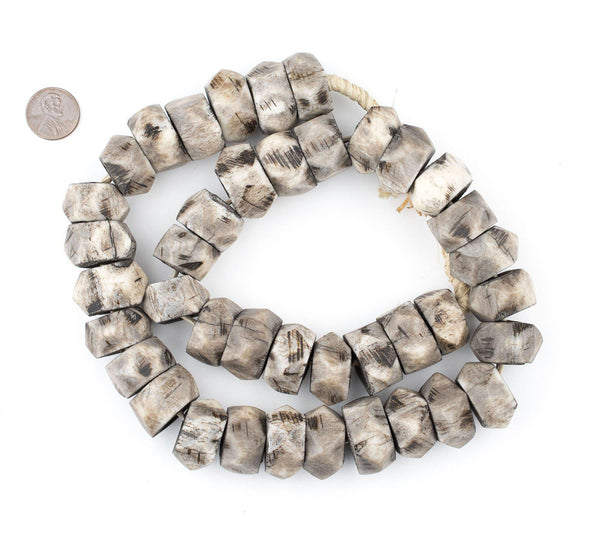 Grey Bone Beads (Faceted)