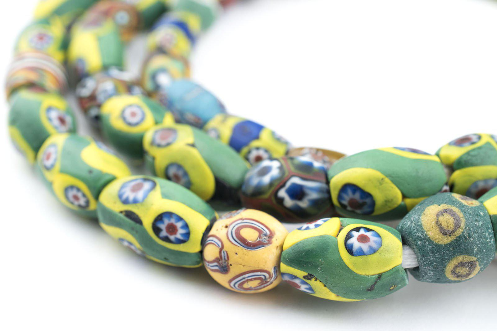Oval Antique Venetian African Millefiori Trade Beads 11mm