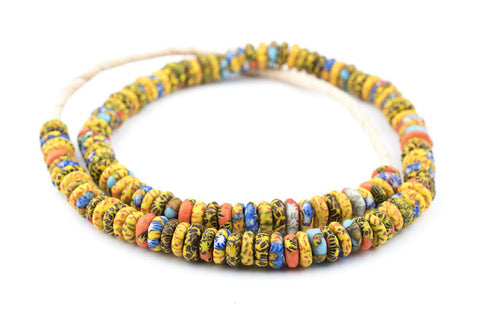 Image of Kumasi Medley Fused Rondelle Recycled Glass Beads (11mm) - The Bead Chest